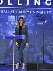 First lady Melania Trump at a town hall meeting on opioid addiction at Liberty University in Lynchburg, Virginia, on Nov. 28.