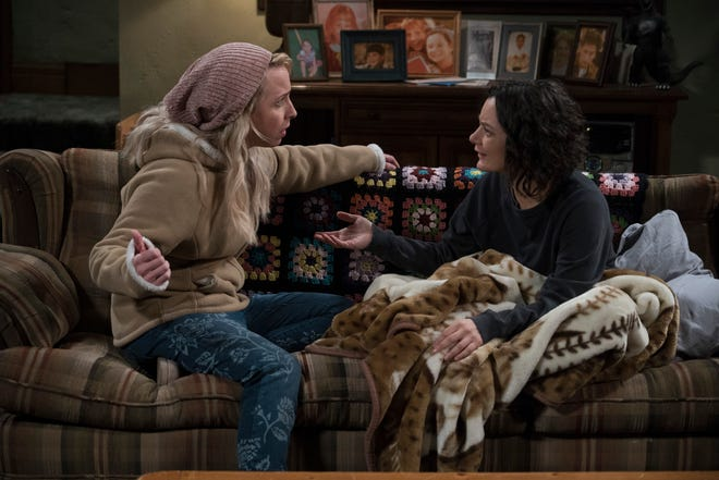 Sisters Becky (Lecy Goranson), left, and Darlene (Sara Gilbert) hash out a serious matter on Tuesday's episode of ABC's 'The Conners.'