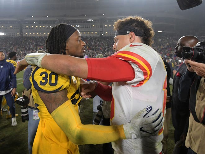 Rams running back Todd Gurley, left, and Chiefs quarterback Patrick Mahomes have carried fantasy teams all season.