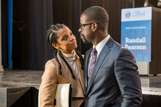 Beth (Susan Kelechi Watson) and Randall (Sterling K. Brown) share a happy moment after Randall's strong debate performance, but they soon face marital challenges in Tuesday's mid-season finale of NBC's 'This Is Us.'