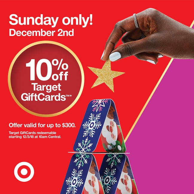 Target has a sale on gift cards Sunday.