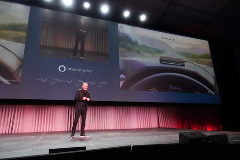 Ned Curic, who runs Amazon's Alexa Auto division, at the L.A. Auto Show