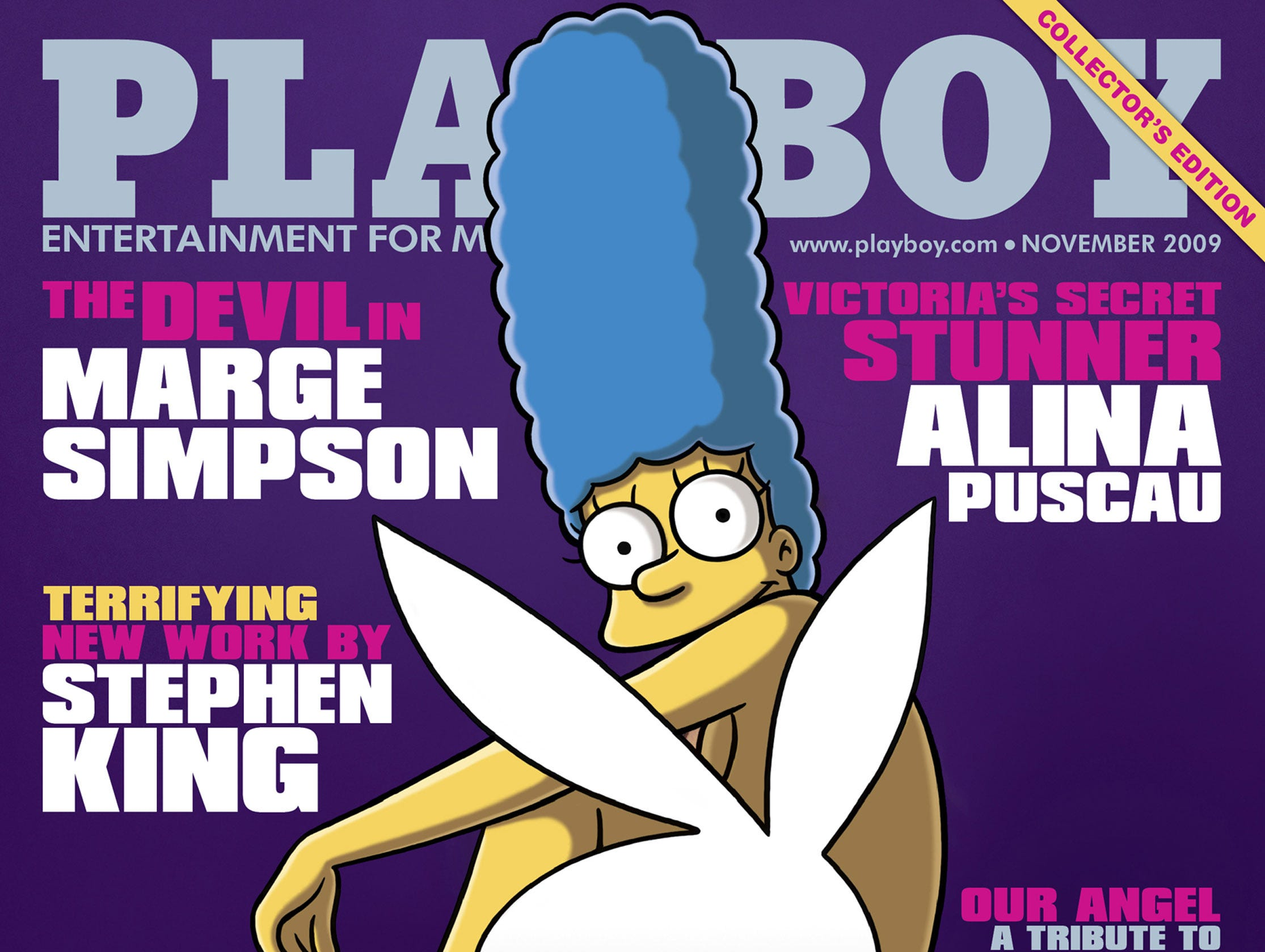 This image released by Playboy Enterprises, Inc. shows Playboy magazine's November 2009 featuring cartoon character Marge Simpson. Marge is the first cartoon given the honor to appear on the cover of the famed men's publication. The magazine will go on sale October 16 2009.     AFP PHOTO/Playboy Enterprises, Inc.     = NO SALES = RESTRICTED TO EDITORIAL USE = (Photo credit should read -/AFP/Getty Images)