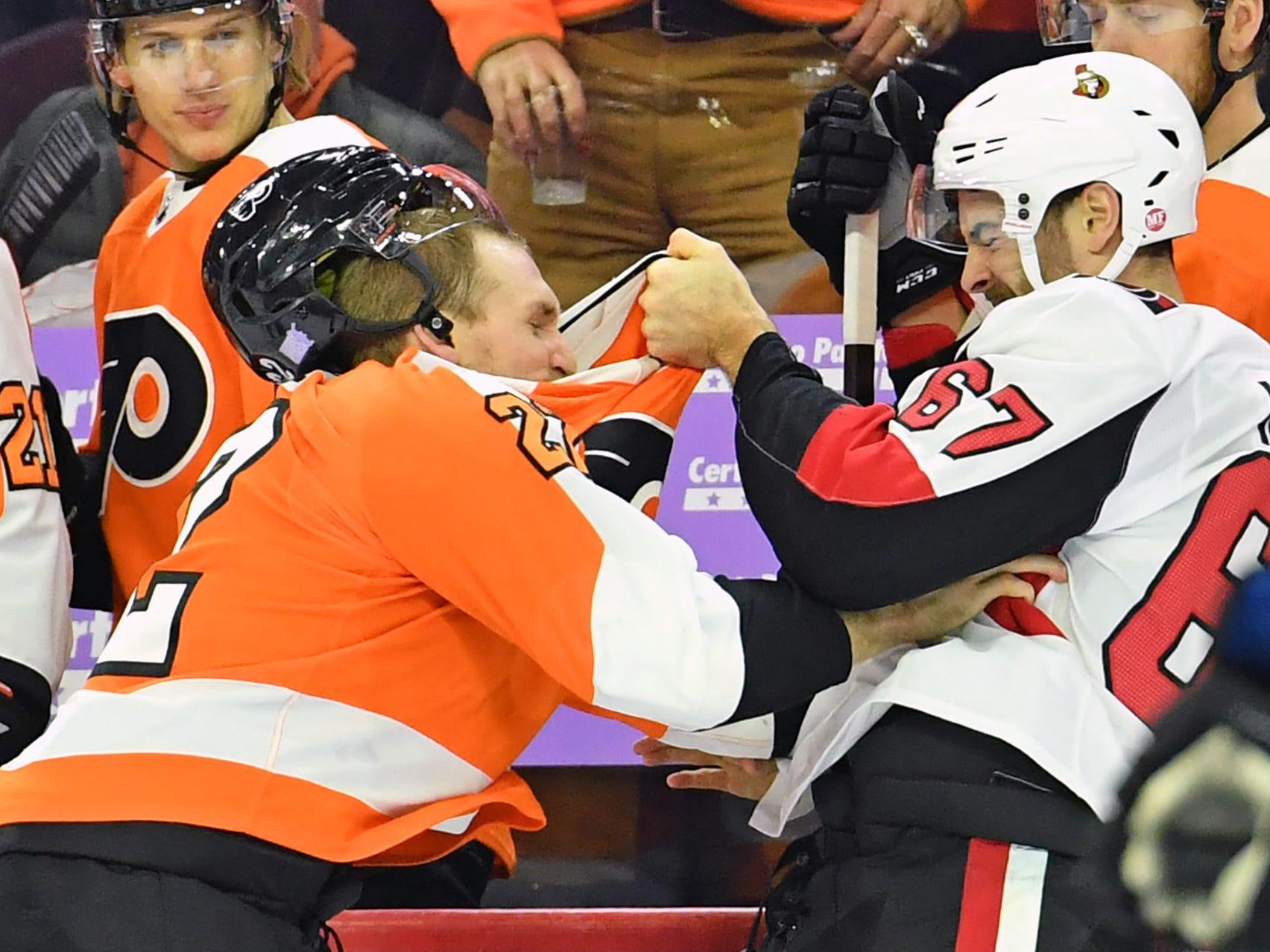 Nov. 27: Philadelphia Flyers' Dale Weise vs. Ottawa Senators' Ben Harpur.