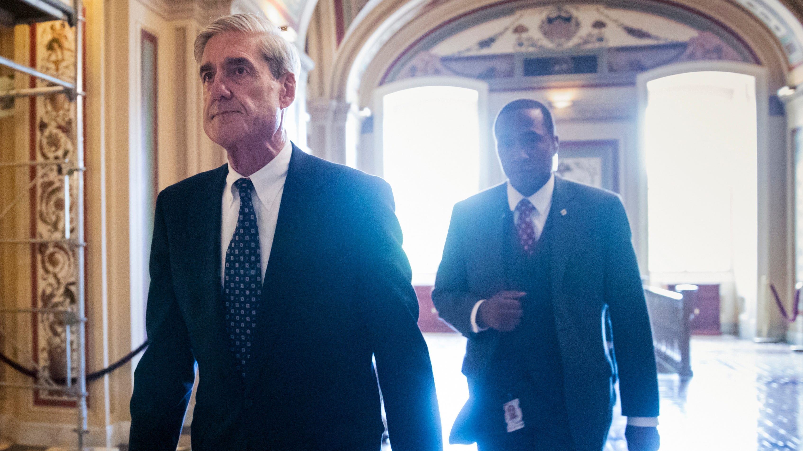 In this June 21, 2017, file photo, special counsel Robert Mueller departs the Capitol after a closed-door meeting with members of the Senate Judiciary Committee about Russian meddling in the election and possible connection to the Trump campaign in Washington.