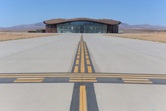 The view west from one of the taxiways at Spaceport America in Truth or Consequences, New Mexico, Virgin Galactic's in-construction airport aimed solely for its space travel program, which should launch for consumers in 2019.