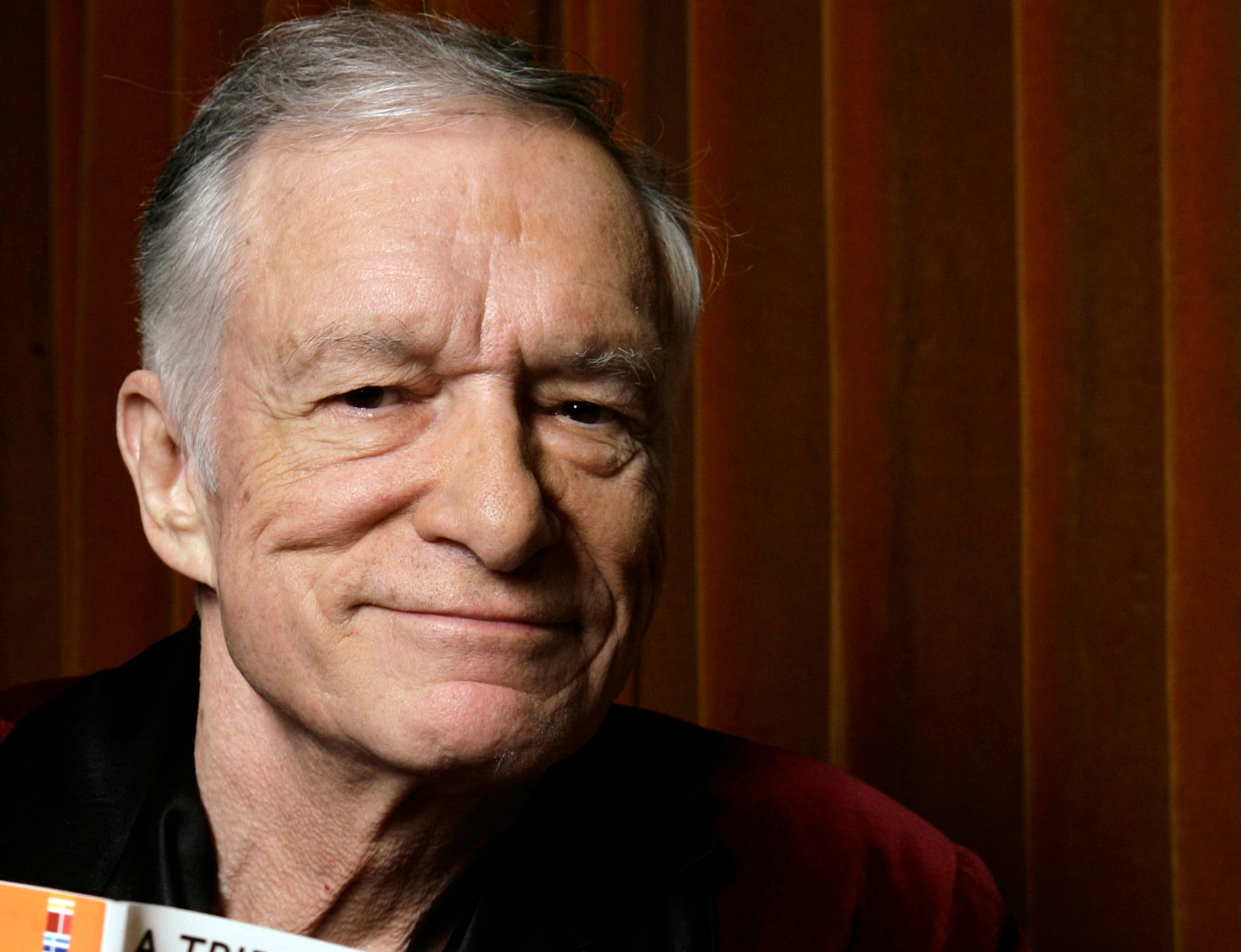 Playboy Editor-in-Chief and Chief Creative Officer Hugh Hefner poses for a photo at the Playboy Mansion in Los Angeles Thursday, April 5, 2007. (AP Photo/Damian Dovarganes) ORG XMIT: LA113