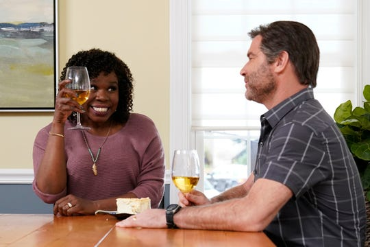 "Leslie Jones and host Liev Schreiber during the ""House Hunters"" sketch on ""Saturday Night Live."""