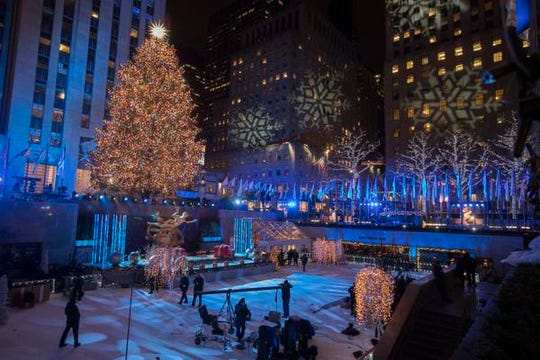 The Rockefeller Center Christmas tree is seen after the 86th annual Rockefeller Center Christmas tree lighting ceremony, Wednesday, Nov. 28, 2018, in New York. (AP Photo/Mary Altaffer)