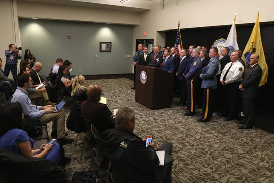 Monmouth County Prosecutor Christopher J. Gramiccioni announces Paul Caneiro has been charged with the quadruple murder of his brother, his brother's wife and their two children and setting fire to their Colts Neck home during a press conference at the Monmouth County Prosecutor's Office in Freehold, NJ Thursday, November 29, 2018.