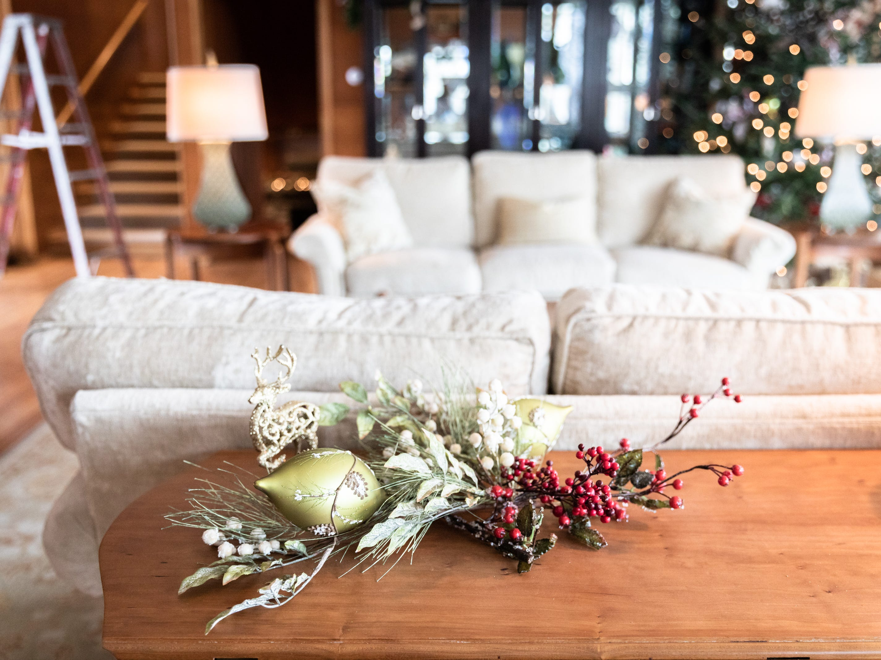 A decorative holiday piece in the living room of the Governor's Western Residence on Patton Mountain Road in Asheville.