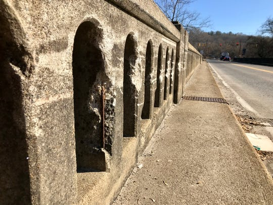 Some of the Amboy Road bridge's arches have worn concrete that has left supporting rebar showing, but the North Carolina DOT says the 58-year-old bridge remains structurally sound.