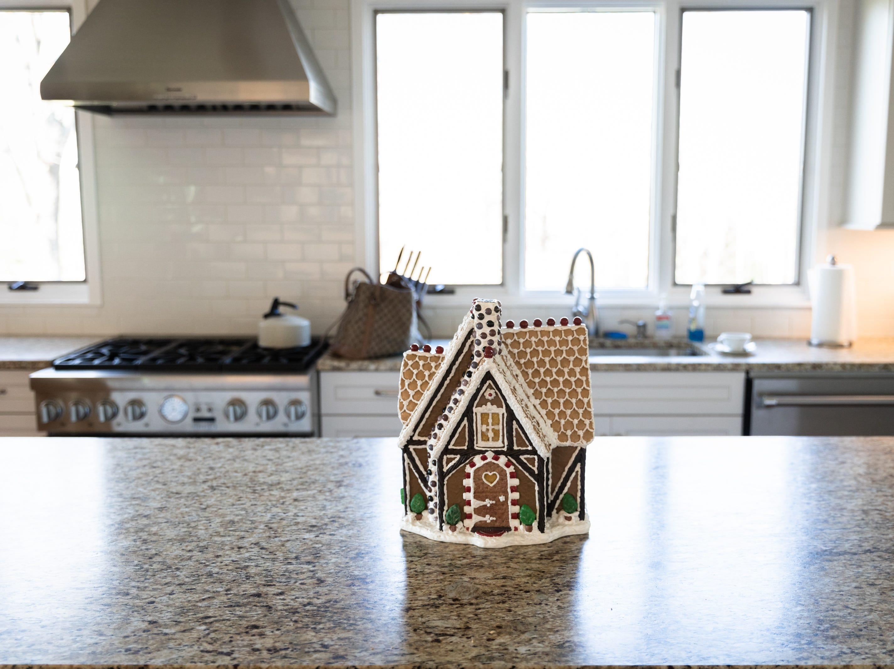 A ginger bread house in the kitchen of the Governor's Western Residence on Patton Mountain Road in Asheville.