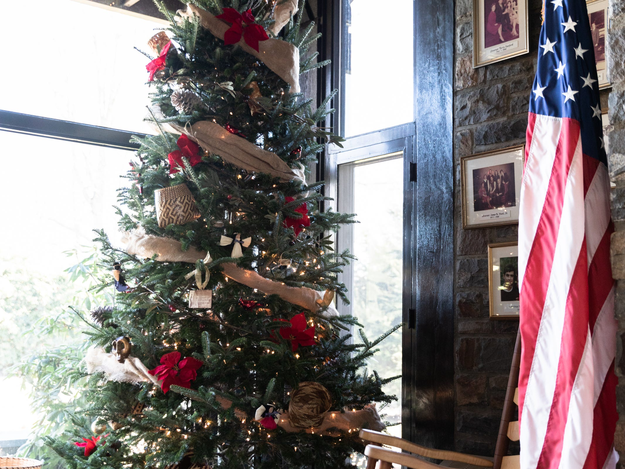 A Christmas tree in the foyer of the Governor's Western Residence on Patton Mountain Road in Asheville.