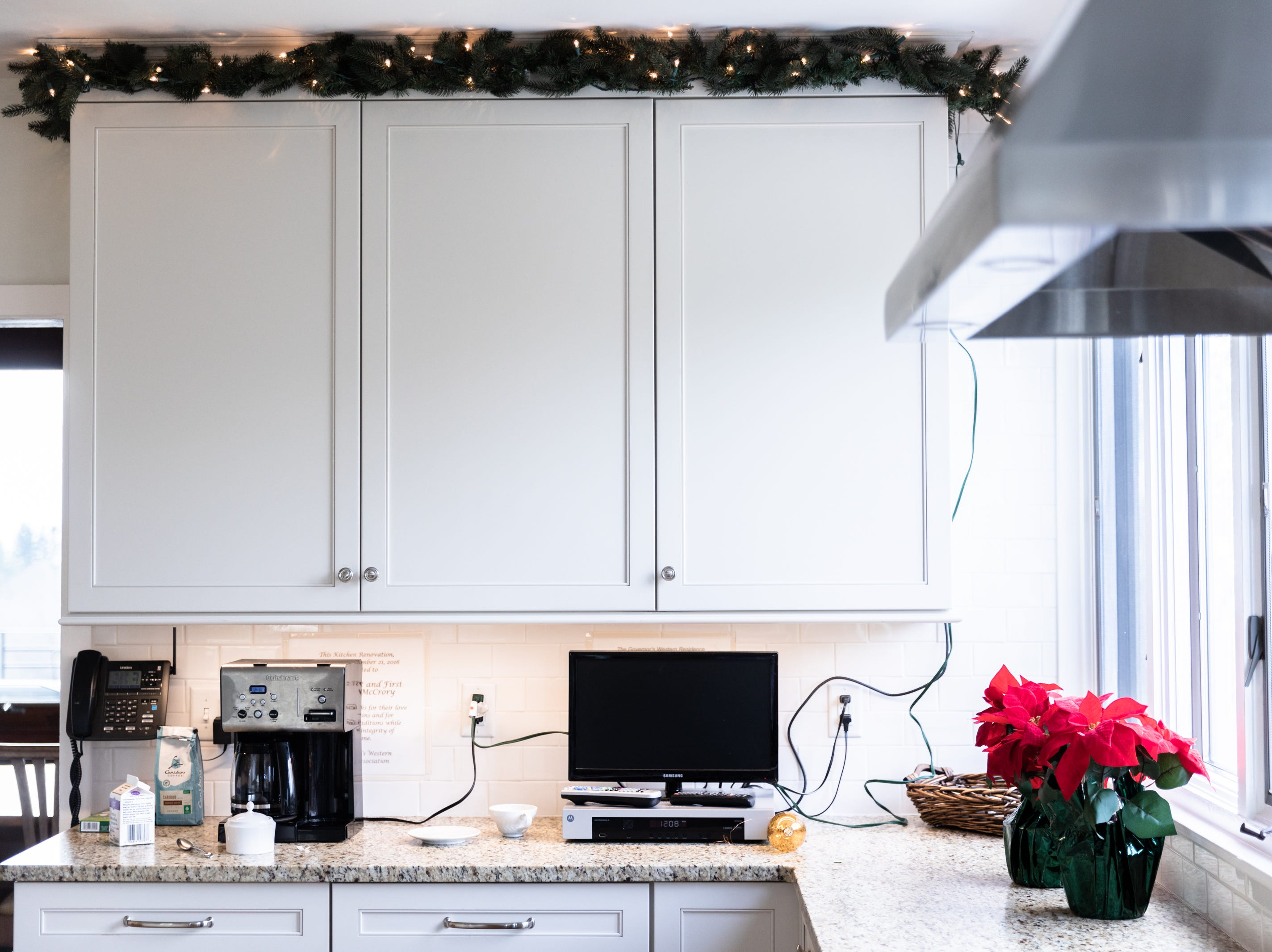 The kitchen in the Governor's Western Residence on Patton Mountain Road in Asheville, decorated for the holidays.