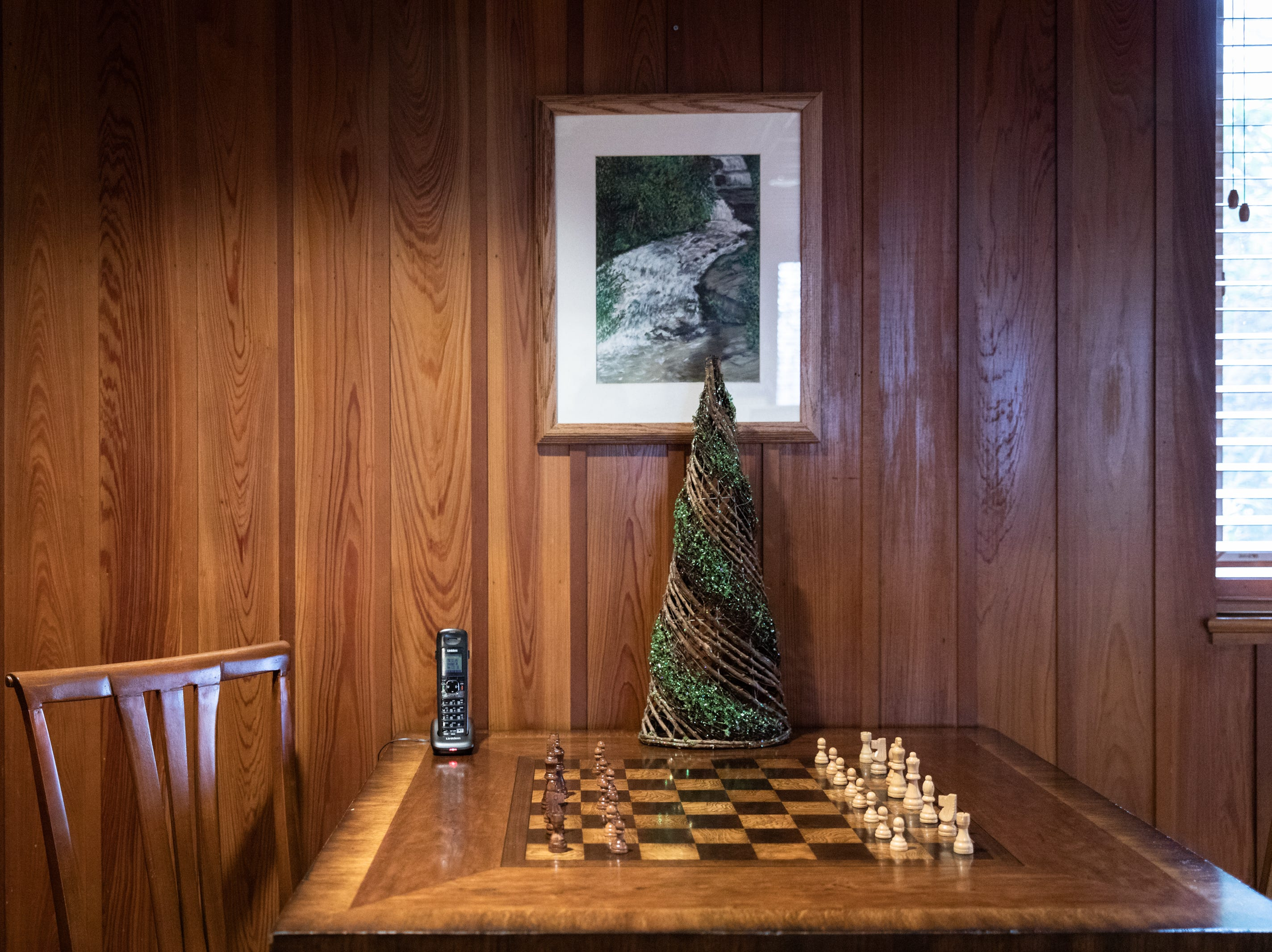 A chess board in the den of the Governor's Western Residence on Patton Mountain Road in Asheville, adorned with a Christmas tree.