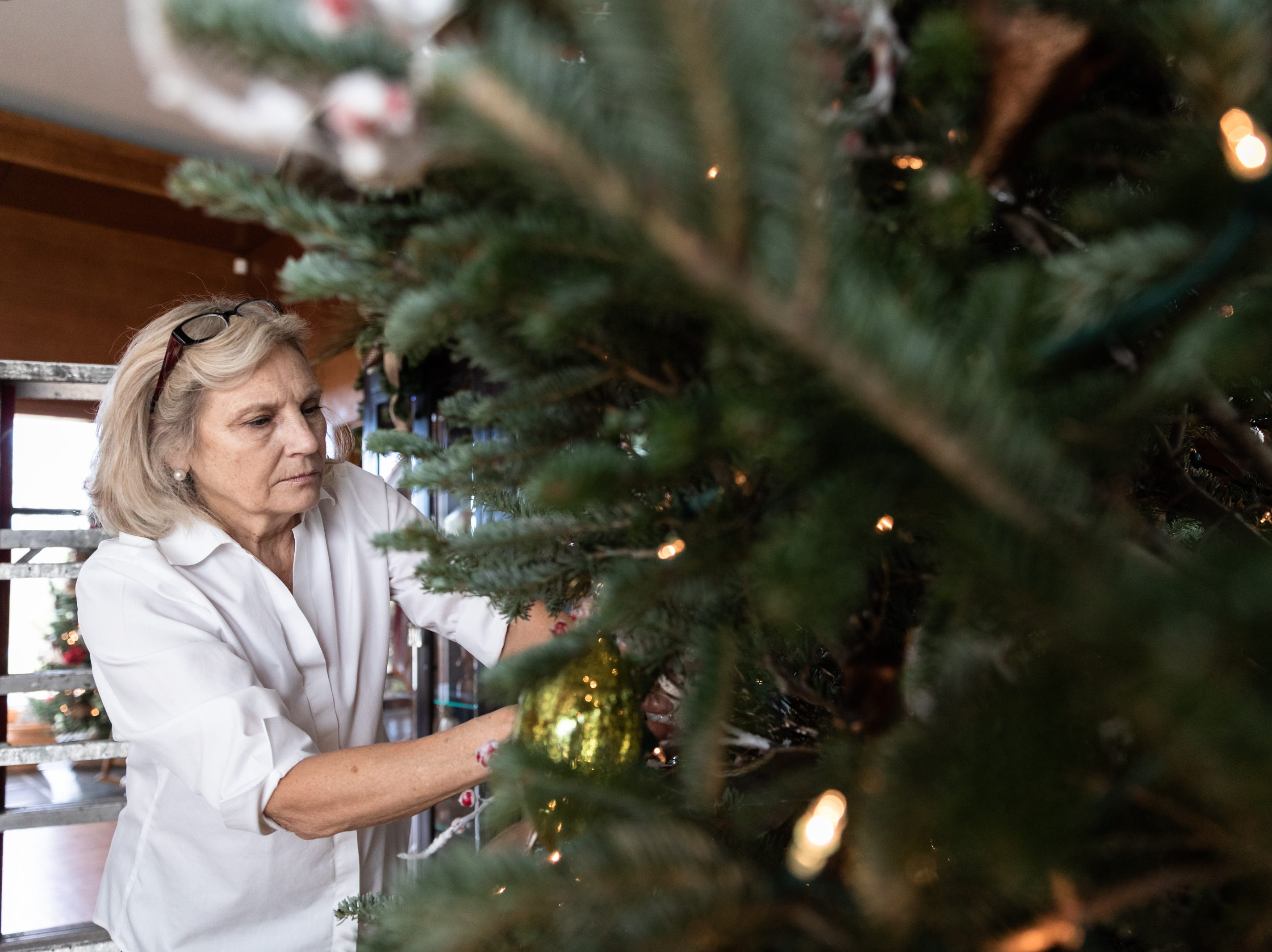 Kaye Myers, of Asheville, a member of the Governor's Western Residence Board of Directors, places an ornament on the Christmas tree at the residence on Patton Mountain Road in Asheville, Nov. 29, 2018.