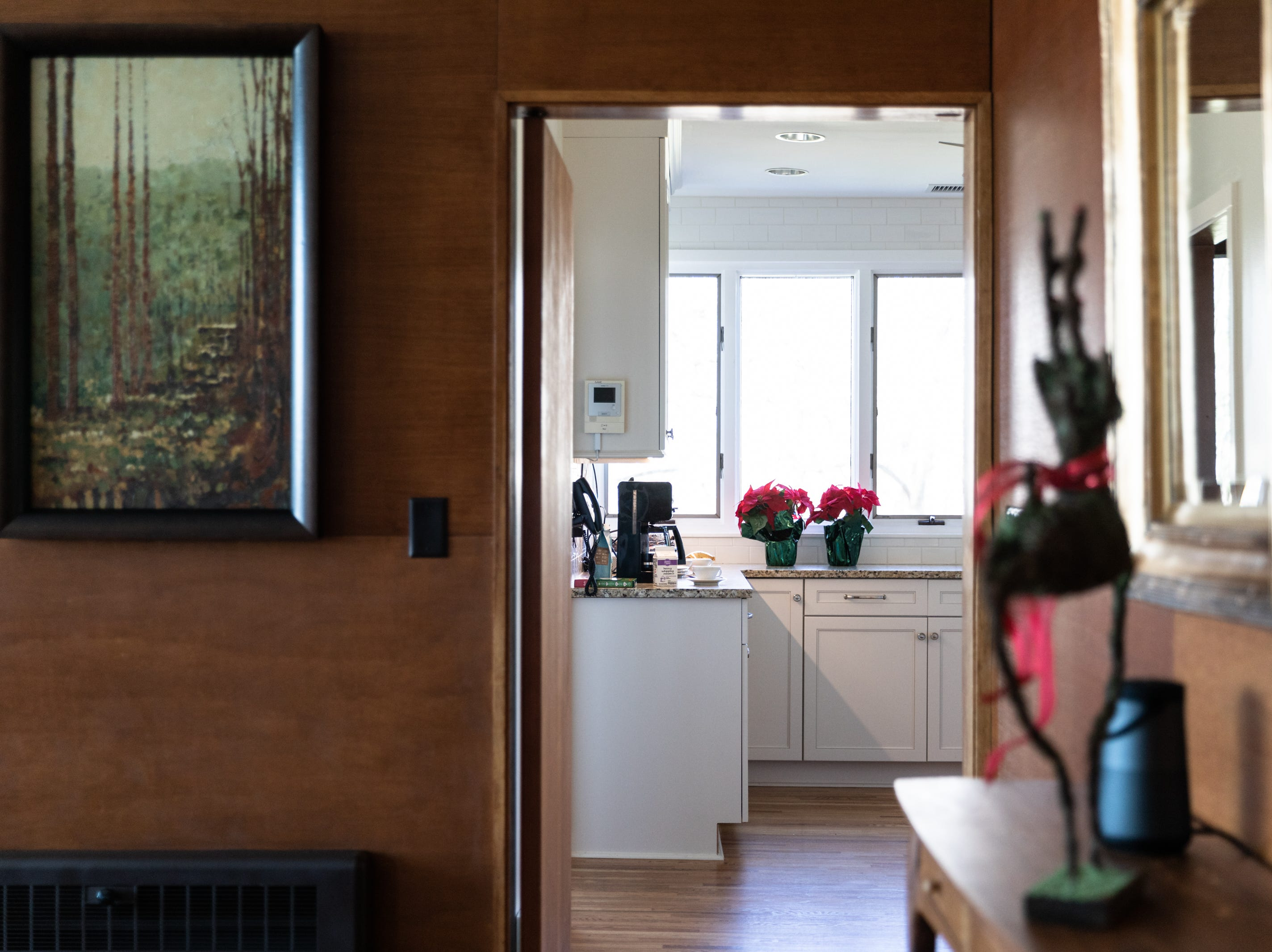Poinsettias adorn a countertop in the kitchen of the Governor's Western Residence on Patton Mountain Road in Asheville.