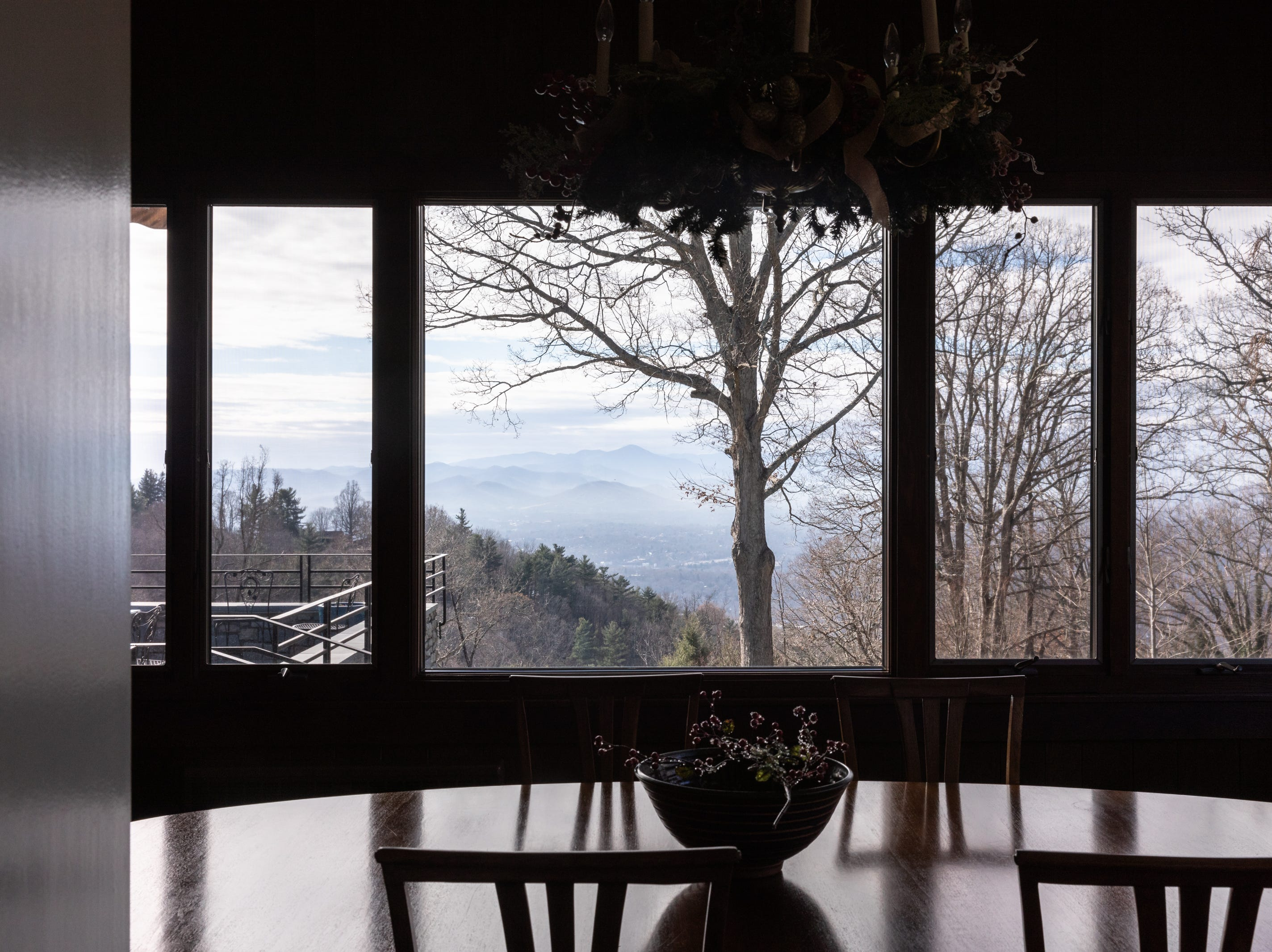 The view from the dining room of the Governor's Western Residence on Patton Mountain Road in Asheville.