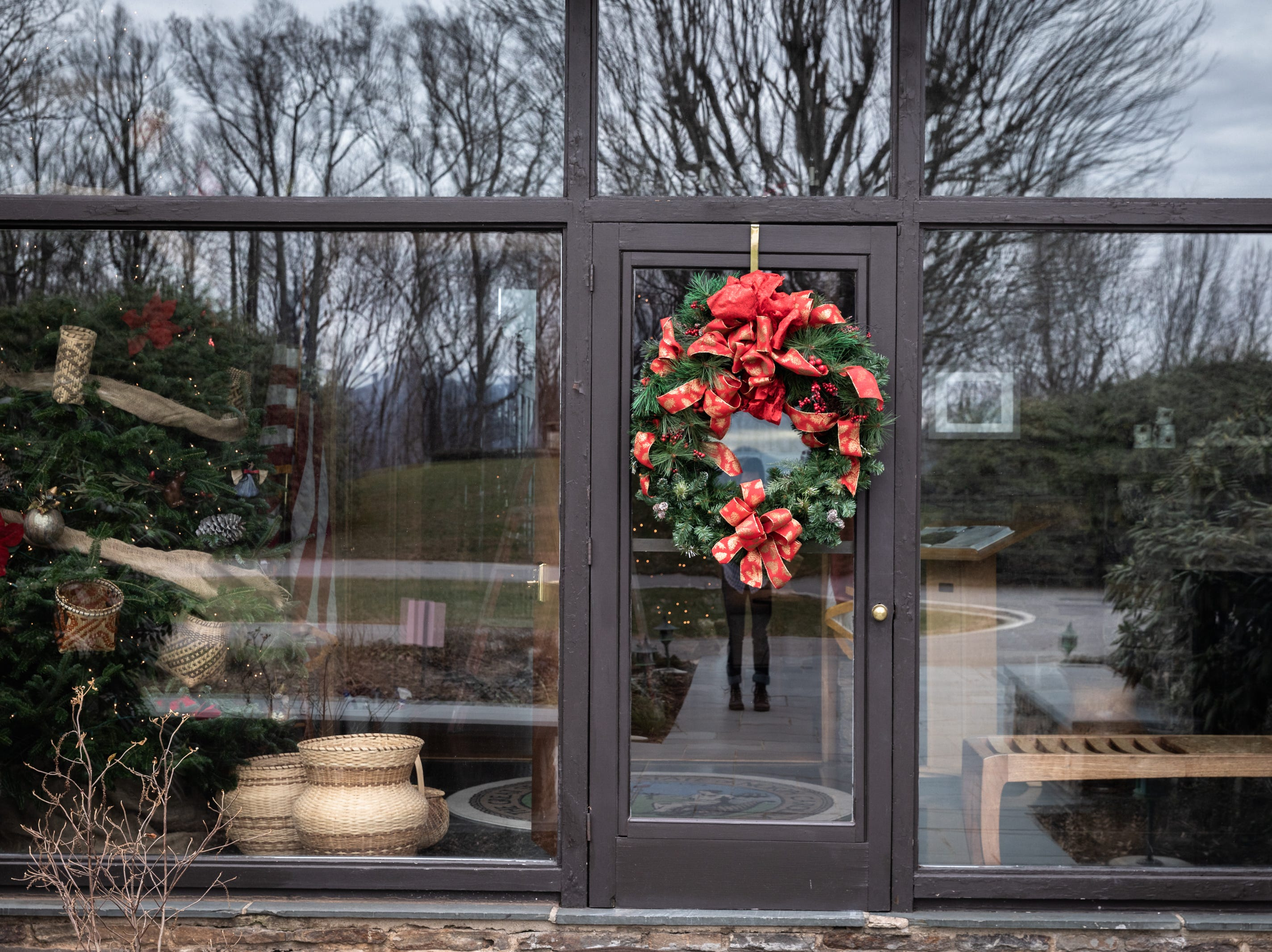 A holiday wreath adorns the front door of the Governor's Western Residence on Patton Mountain Road in Asheville.