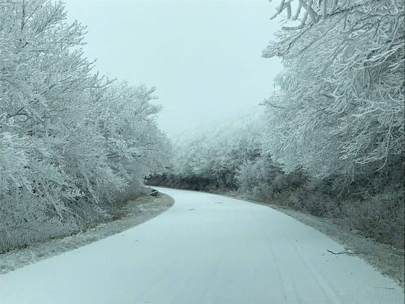 The Blue Ridge Parkway is closed in the Craggy Gardens area north of Asheville due to ice and snows, as seen here on Nov. 27, 2018.