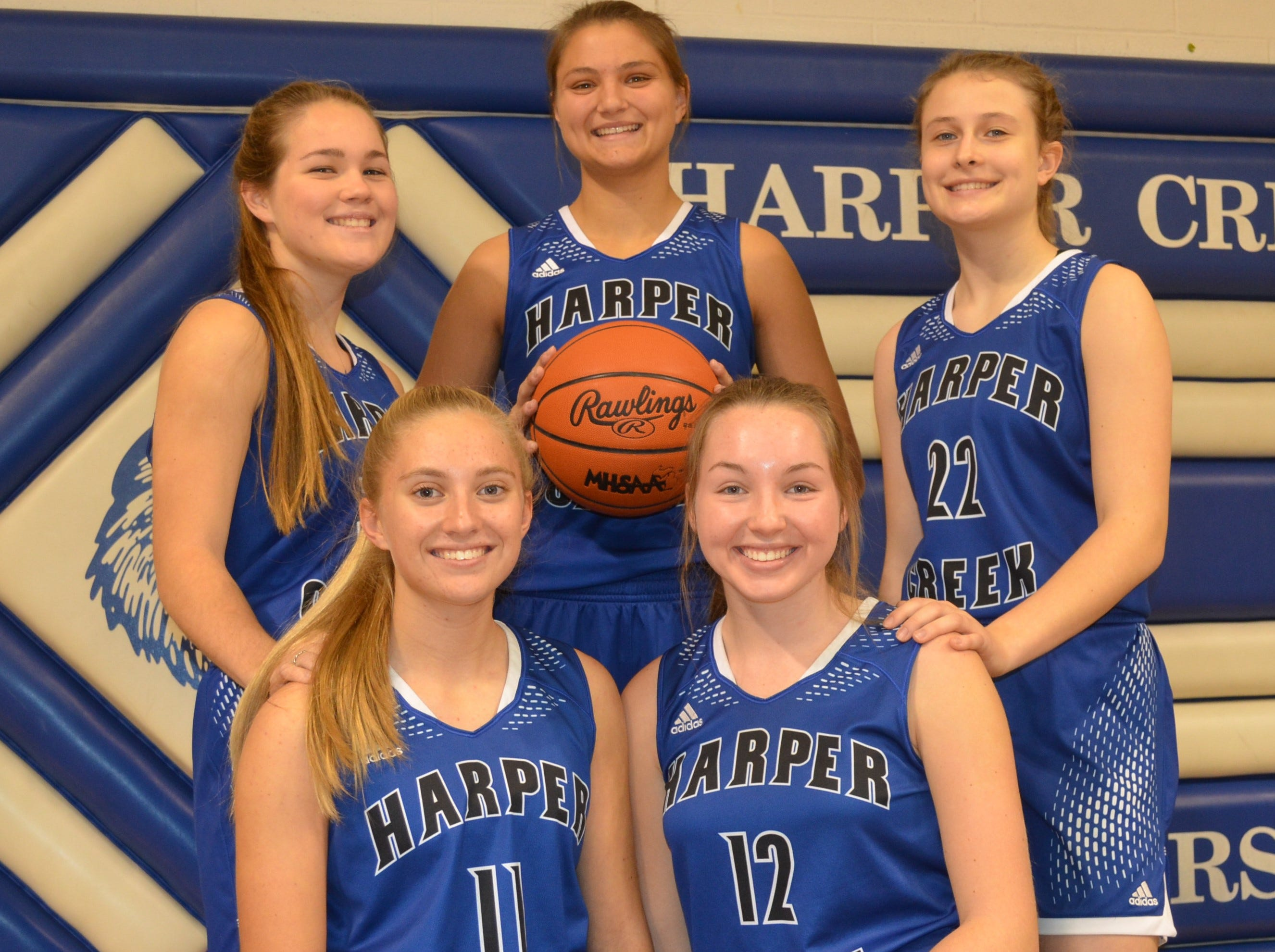 The returning leaders for the Harper Creek girls basketball team include, back row, from left, Meredith Coon, Maddie Alexander, Abbey Hicks. Front row, Maddie Thompson and Marlene Bussler