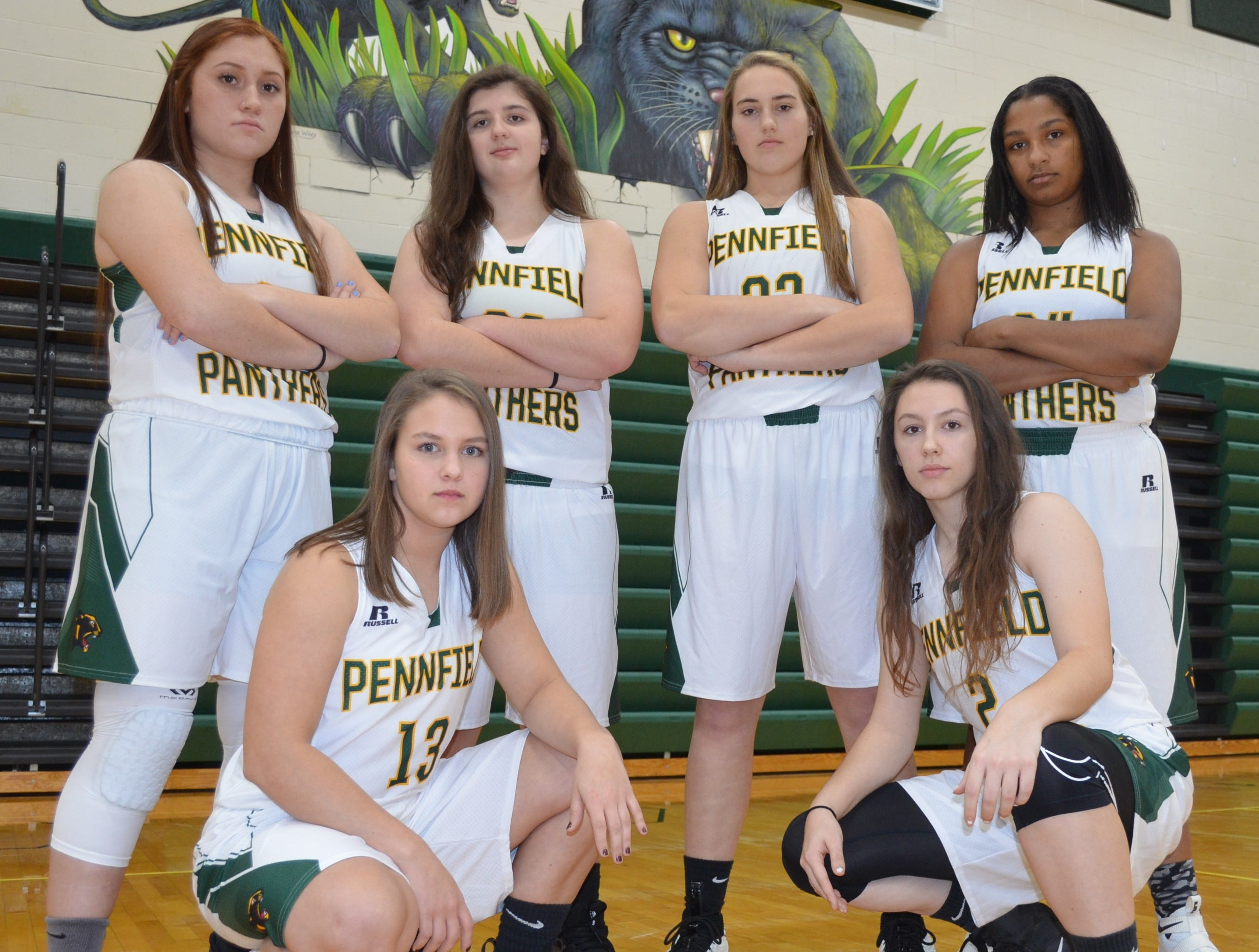 The returning leaders for the Pennfield girls basketball team, include, back row, from left, Adriana Fuentes-Miller, Shayna Hanker, Alicia Lake, Ayanna Gauna. Front row, Logan Striplin, Alissa Coughlin