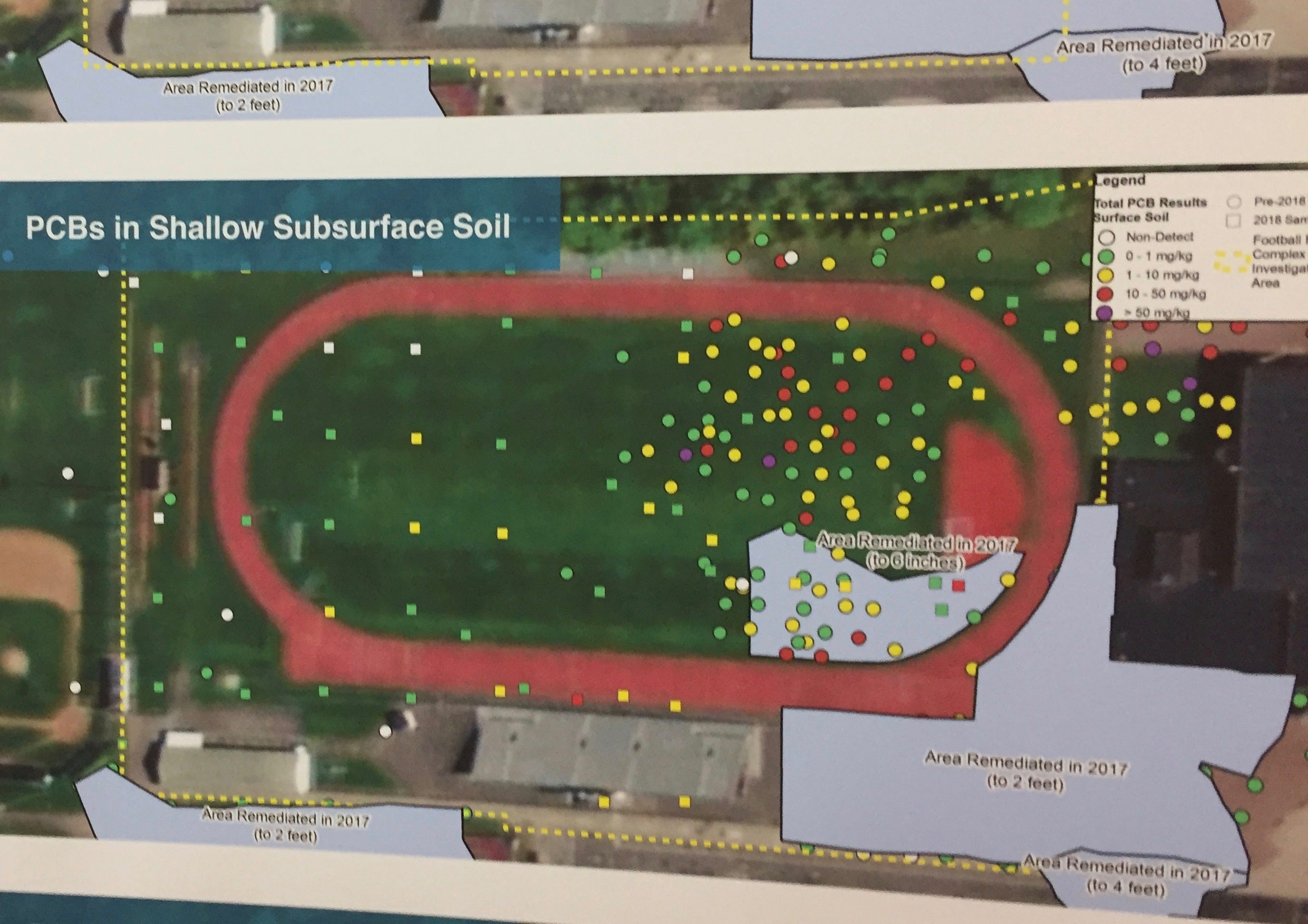 Red, blue and purple dots show areas of high PCB concentration under the Elmira High School  playing field.