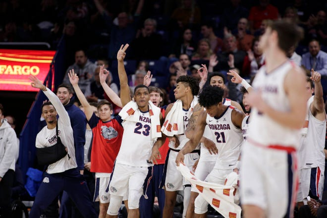 Zach Norvell (23) and other Gonzaga players celebrate late in the Zags' win over North Dakota State on Monday. Gonzaga enters a key stretch of nonleague games (at Creighton on Saturday, vs. Washington on Dec. 5, vs. Tennessee on Dec. 9 and at North Carolina on Dec. 15) with two rotation players out with injury.