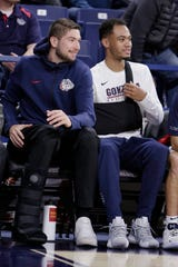Gonzaga forward Killian Tillie, left, and guard Geno Crandall are both expected to be out at least until late December with injuries.