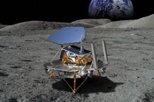 This rendering of Lockheed Martin's McCandless Lunar Lander shows a notional large payload, and commonality with the proven InSight and Phoenix Mars landers. Lockheed is one of nine companies that NASA announced Thursday were eligible to bid on robotic science and technology missions under its Commercial Lunar Payload Services program.