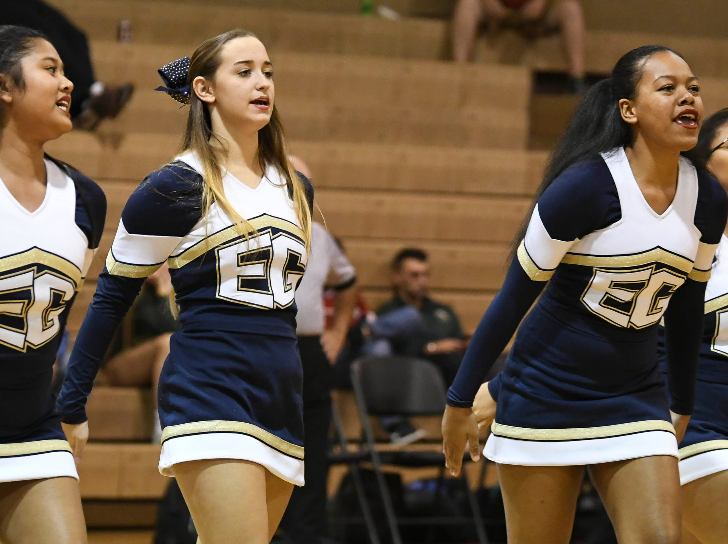 Eau Gallie's cheerleaders perform during Wednesday's basketball game at Eau Gallie High.