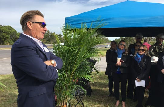 Franz Hanning, chief executive officer of Orlando-based Northshore Development, speaks during the Aqua groundbreaking ceremony.