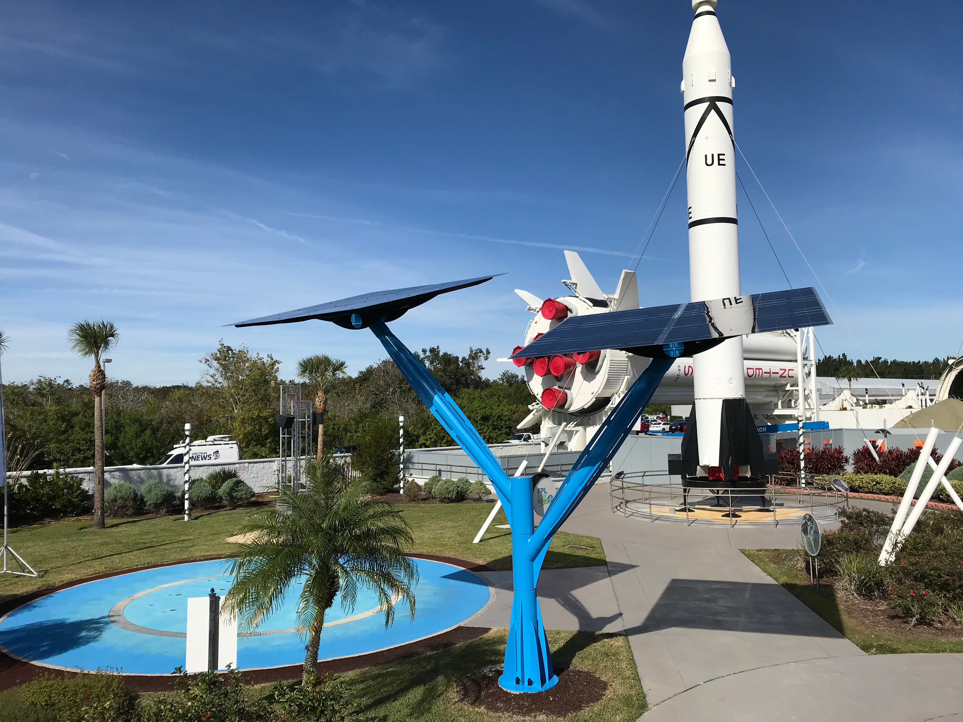 One of the solar trees at the Kennedy Space Center Visitor Complex, located behind the rocket garden. There are a total of five solar trees at the complex.