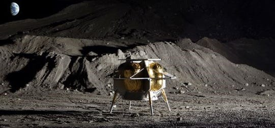 Concept image of Pittsburgh-based Astrobotic's Peregrine lunar lander, which is eligible to carry payloads to the moon for NASA through the Commercial Lunar Payload Services program.