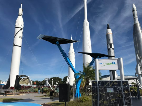 Partnering with Florida Power & Light, Kennedy Space Center added five solar trees around the complex to help educate and promote sustainability.