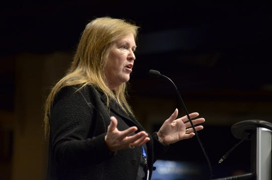 "Jane O'Meara Sanders, wife of Sen. Bernie Sanders, I-Vt., gives opening remarks at The Sanders Institute Gathering  event at ECHO Leahy Center for Lake Champlain on Nov. 29, 2018. The Gathering is billed as a meeting of  ""250 leading progressive minds to envision – and to actualize – a better future for our country and the world,' organized by the institute co-founded by  Jane O'Meara Sanders."