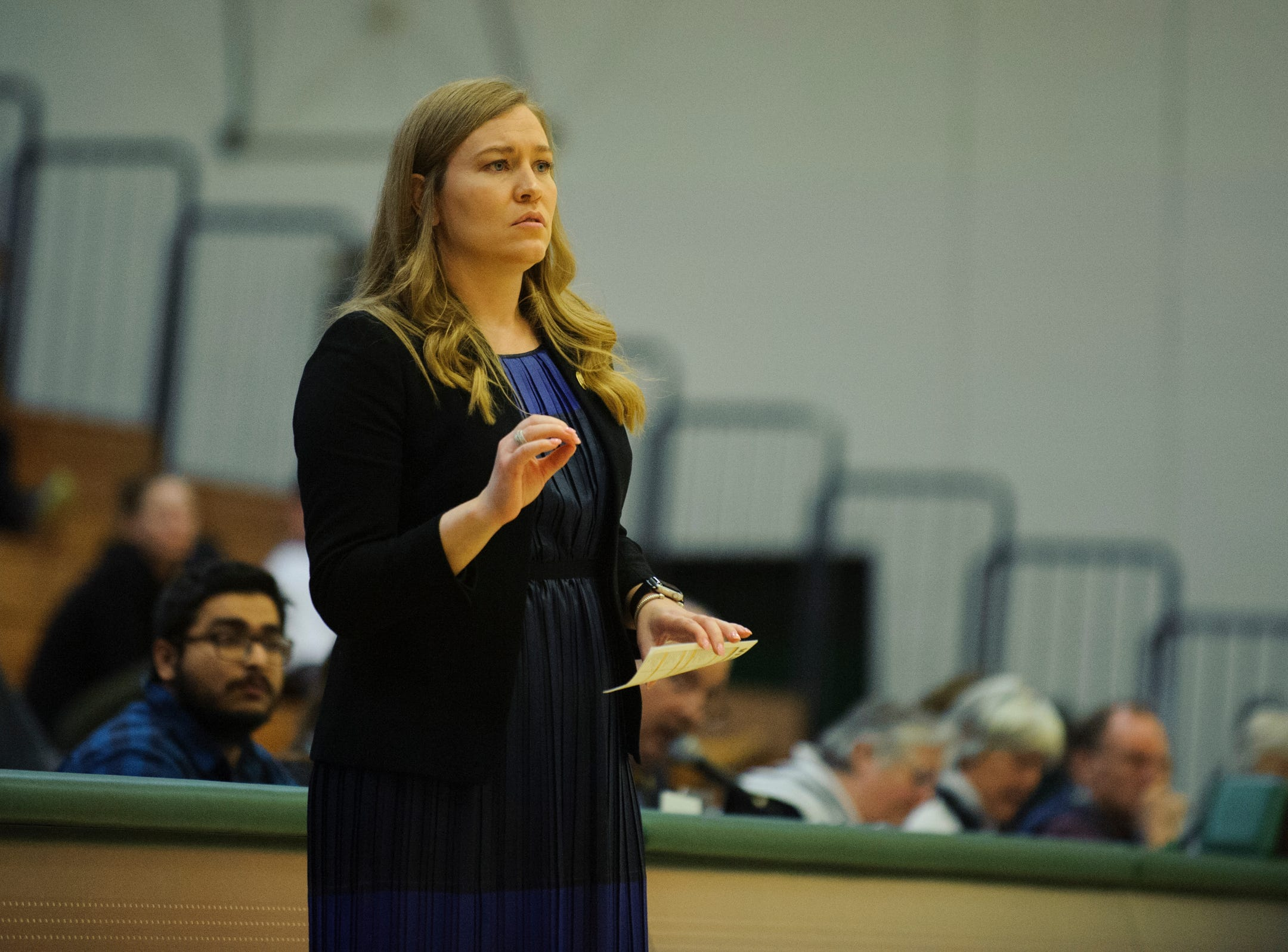 Vermont head coach Alisa Kresge watches the action on the court during the women's basketball game between the Holy Cross Crusaders and the Vermont Catamounts at Patrick Gym on Wednesday night November 28, 2018 in Burlington.