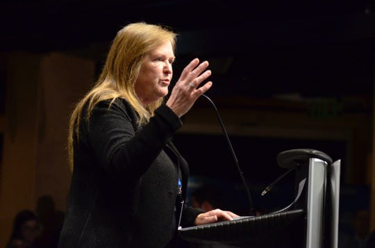 """Jane O'Meara Sanders, wife of Sen. Bernie Sanders, I-Vt., gives opening remarks at The Sanders Institute Gathering  event at ECHO Leahy Center for Lake Champlain on Nov. 29, 2018. The Gathering is billed as a meeting of  """"250 leading progressive minds to envision – and to actualize – a better future for our country and the world,' organized by the institute co-founded by  Jane O'Meara Sanders."""
