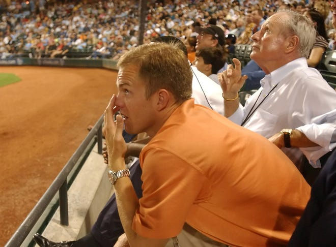 Reese Ryan (left) and Don Sanders watch at Hooks game at Whataburger Field in 2006. Sanders will be honored with the Lifetime Achievement Award at the South Texas Winter Baseball Banquet in January.