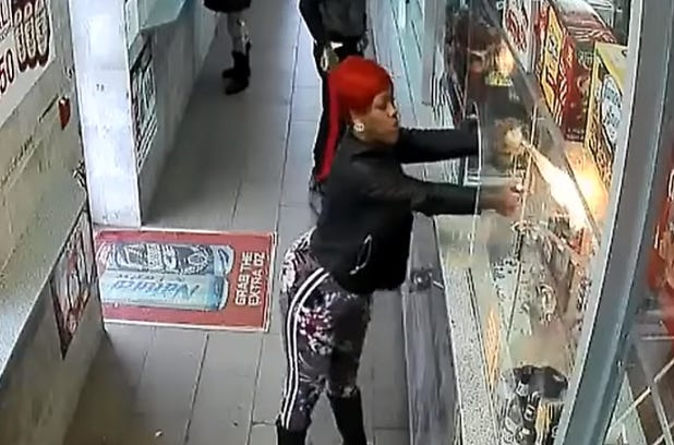 Philadelphia police say an unhappy customer used a can or hairspray and a lighter to make a torch inside a city store.