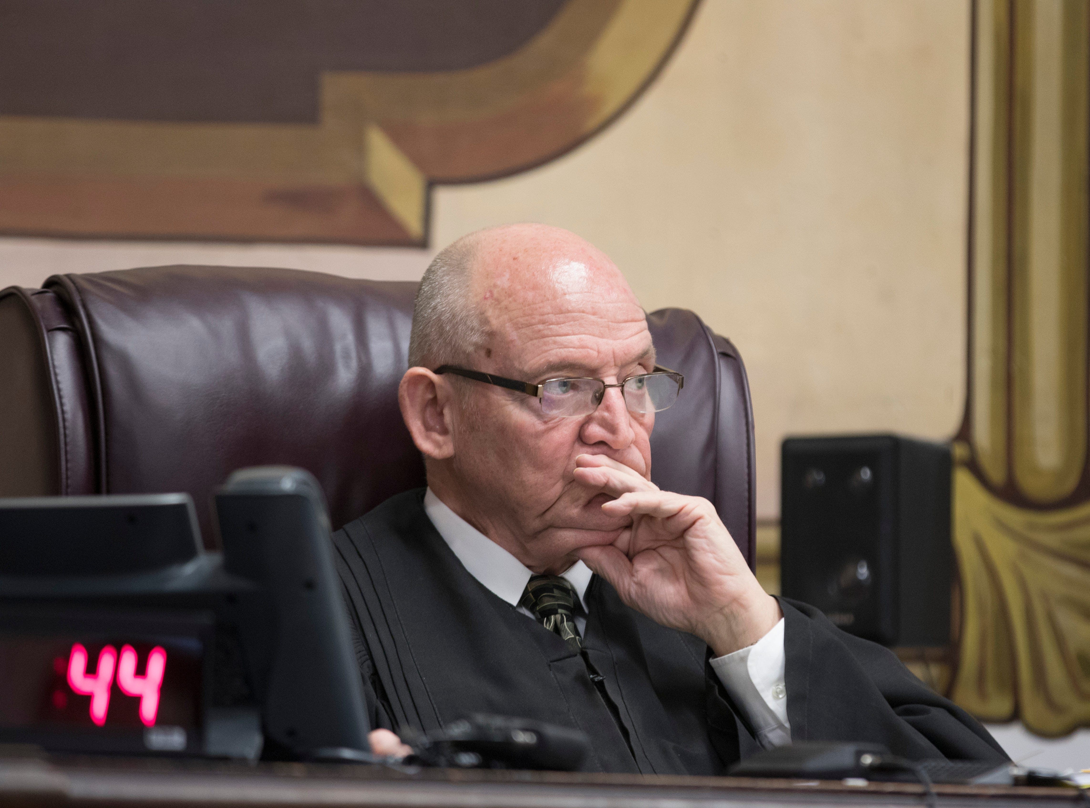 Pike County Common Pleas Judge Randy Deering listens to the arguments given by the prosecution in regard to the charges concerning Fredericka Wagner Thursday afternoon in Waverly, Ohio.