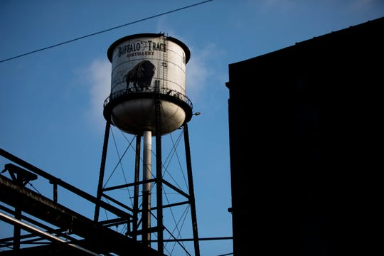 The water tower at Buffalo Trace Distillery in Frankfort, Ky., on Wednesday, Nov. 28, 2018.