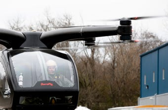 The SureFly Helicopter, a prototype aircraft by Workhorse, flies on Thursday, Nov. 29, 2019. The prototype is completely electric and uses 8 electric motors to fly.