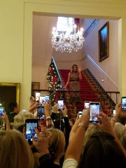 First Lady Melania Trump at the unveiling of the 2018 White House Christmas decorations.