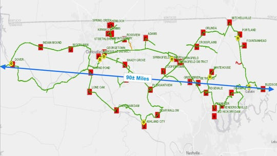 This slide shows current fiber-optic cable CEMC has installed for internal communications between its offices, service centers and substations across its five-county service area. The red icons are substations and the yellow are offices.