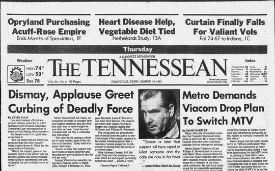 The March 28, 1985, edition of The Tennessean shows reaction from law enforcement and civil rights leaders after the U.S. Supreme Court ruled in Tennessee v. Garner that police can't shoot any felony suspect for attempting to flee.