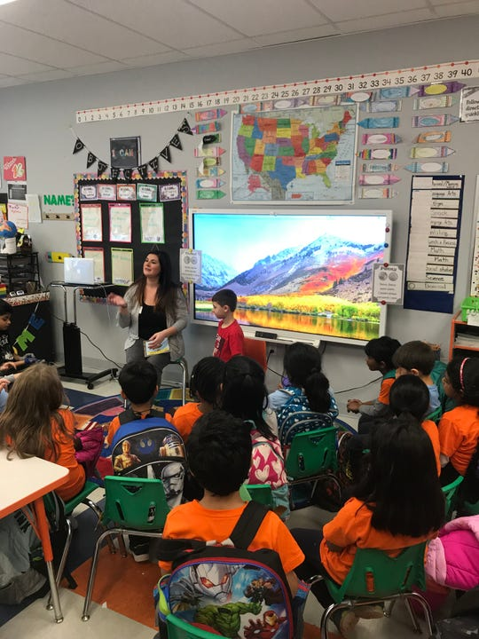 Thomas Edison EnergySmart Charter School welcomed  Bethany Medeiros to our school as the mystery reader for our first grade class.