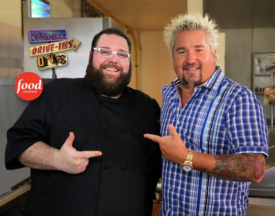 "Rocky Hill Tavern was featured on the Food Network's ""Diners, Drive-Ins and Dives"" with Guy Fieri, pictured at right with Owner-Executive Chef Evan Blomgren."