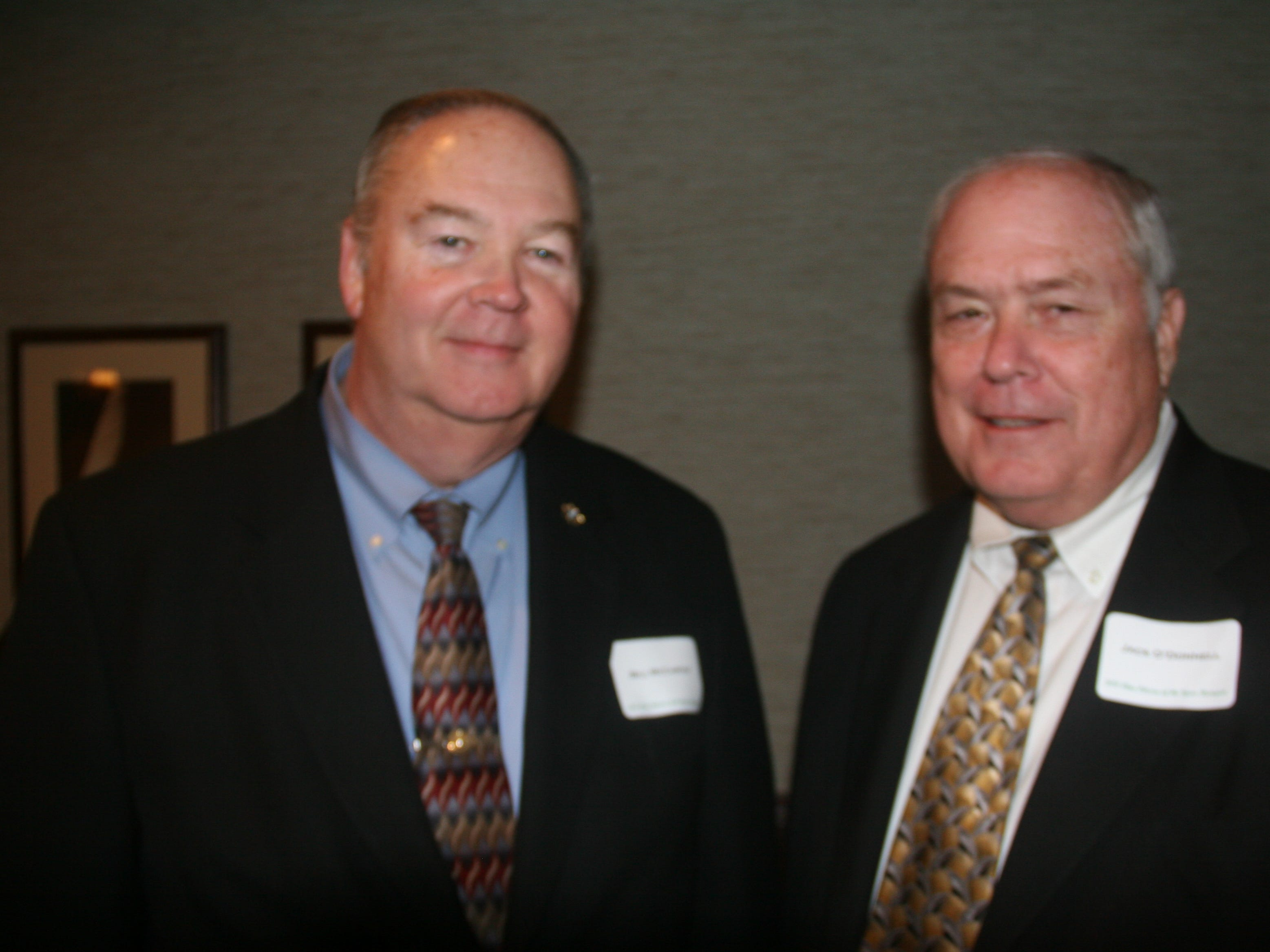 Bill McCarthy poses for a picture with then-West Des Moines Chief of Police Jack O'Donnell during the 32nd annual Clive Citizen of the Year Banquet at Walnut Ridge in Clive on Feb. 28, 2011. The event honored Robert Brownell, a former Clive mayor and current member of the Polk County Board of Supervisors.